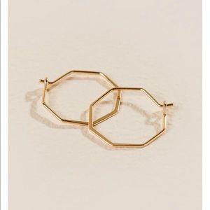 Octagon Huggie Hoop Earrings